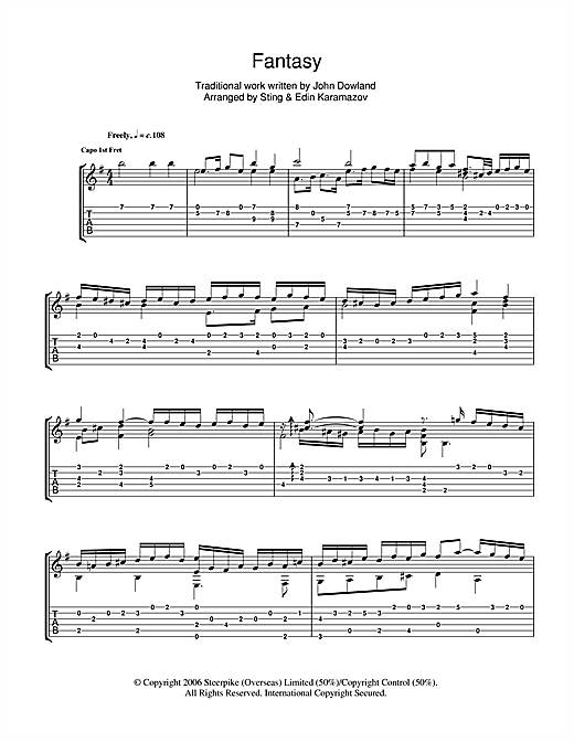 Tablature guitare Fantasy de Sting - Tablature Guitare