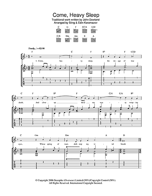 Come, Heavy Sleep Sheet Music
