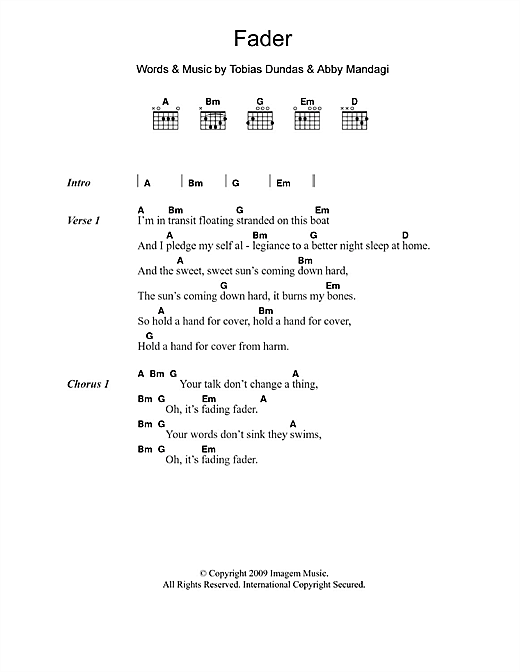 Fader (Guitar Chords/Lyrics)