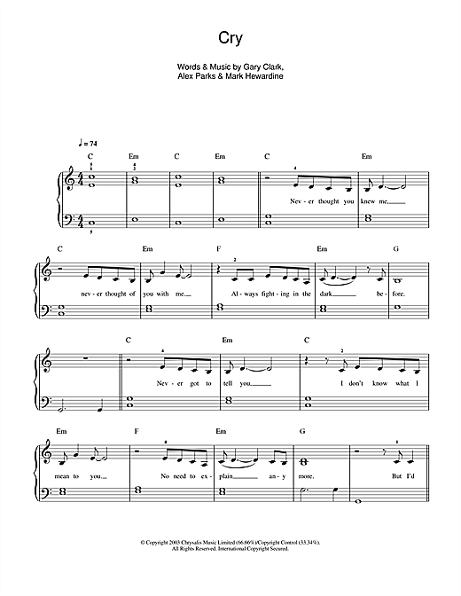 Partition piano Cry de Alex Parks - Autre
