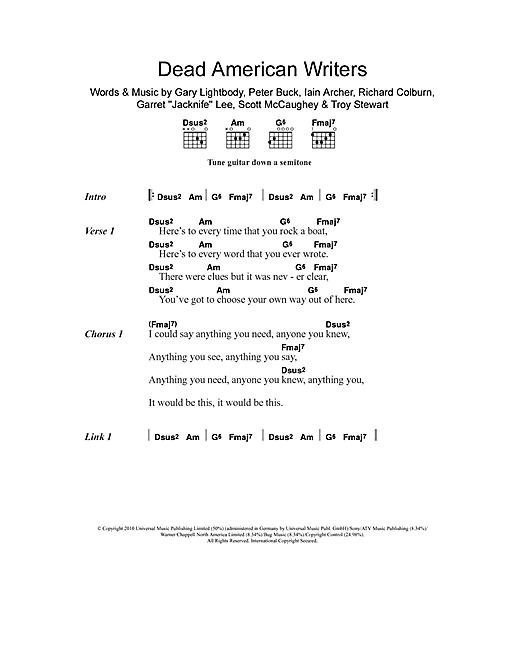 Dead American Writers Sheet Music