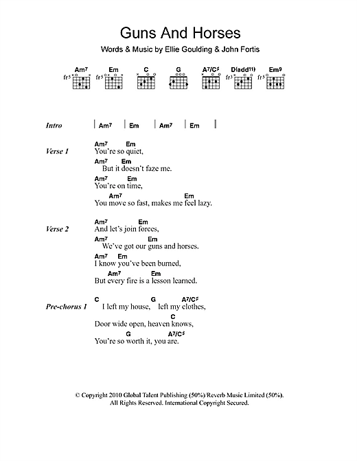 Guns And Horses Sheet Music