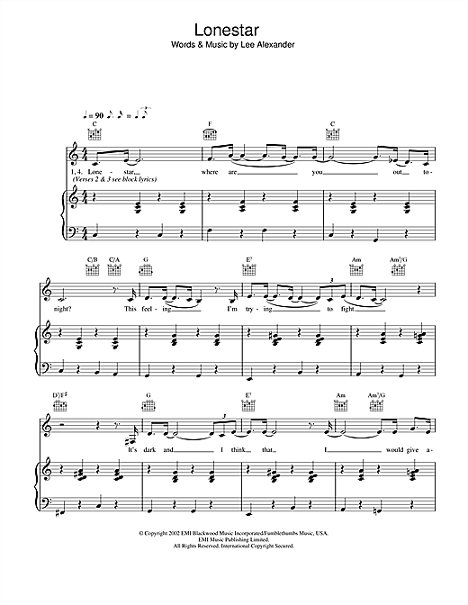 Lonestar Sheet Music