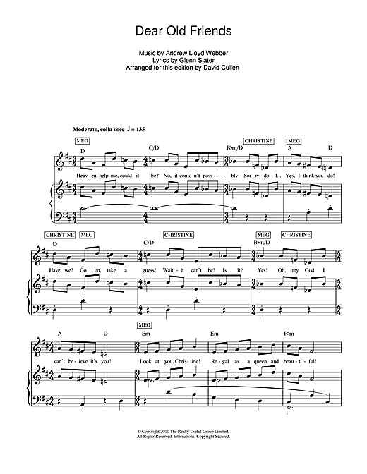 Dear Old Friends Sheet Music