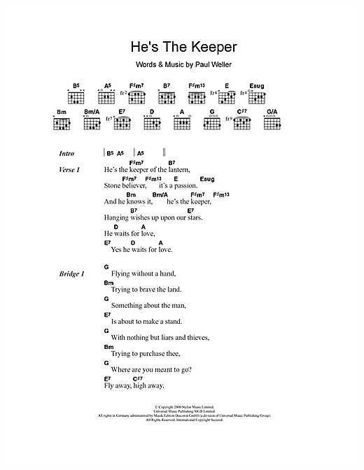 He's The Keeper (Guitar Chords/Lyrics)