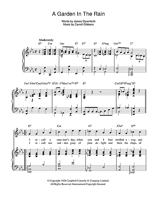 A Garden In The Rain Sheet Music