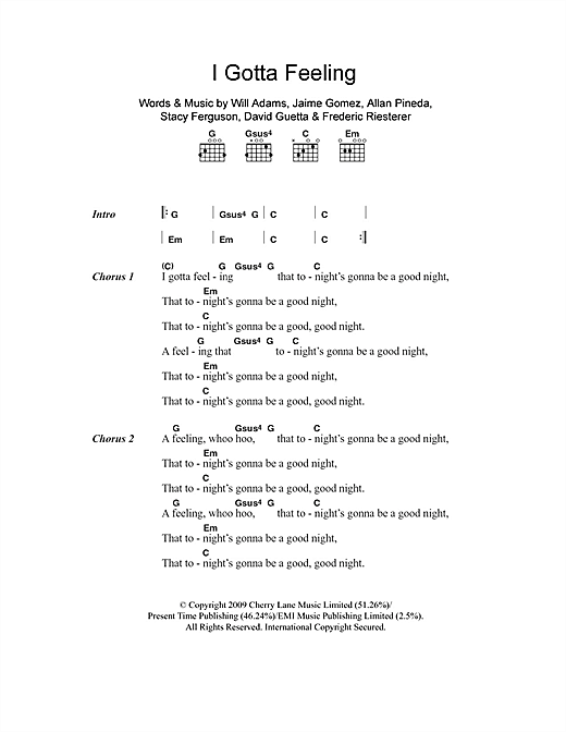 I Gotta Feeling (Guitar Chords/Lyrics)