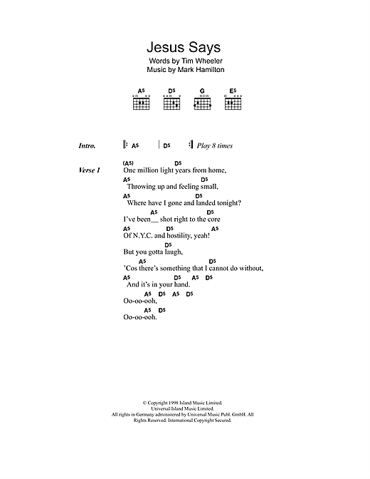 Jesus Says (Guitar Chords/Lyrics)