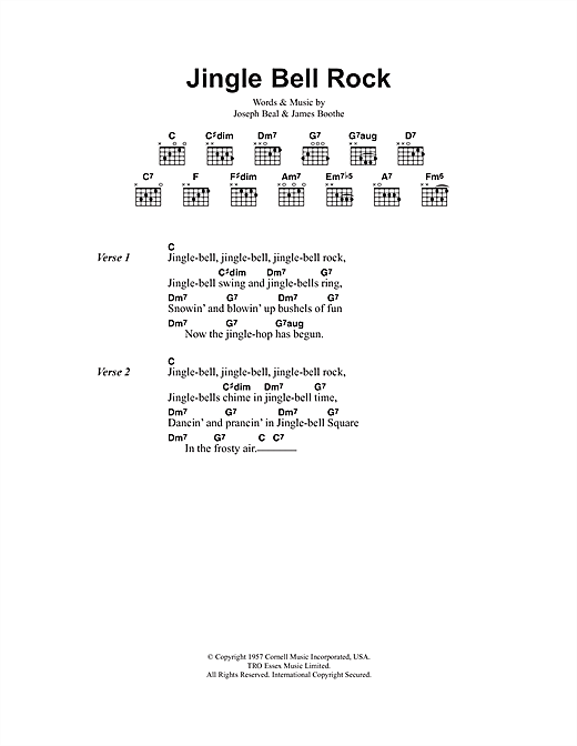 graphic about Jingle Bells Lyrics Printable referred to as Jingle Bell Rock (Guitar Chords/Lyrics) - Print Sheet Audio By now