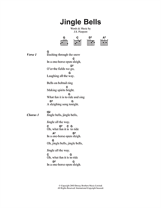 Ukulele ukulele chords for jingle bells : Jingle Bells sheet music by J. Pierpont (Lyrics & Chords – 104184)