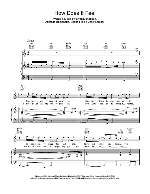 How Does It Feel Sheet Music