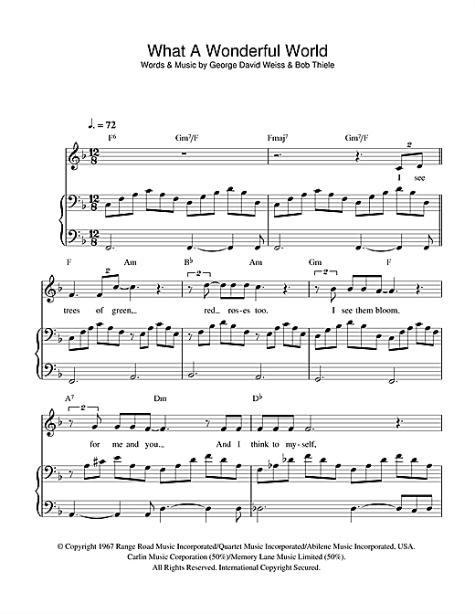 Partition piano what a wonderful world