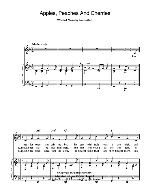 Apples, Peaches And Cherries Sheet Music