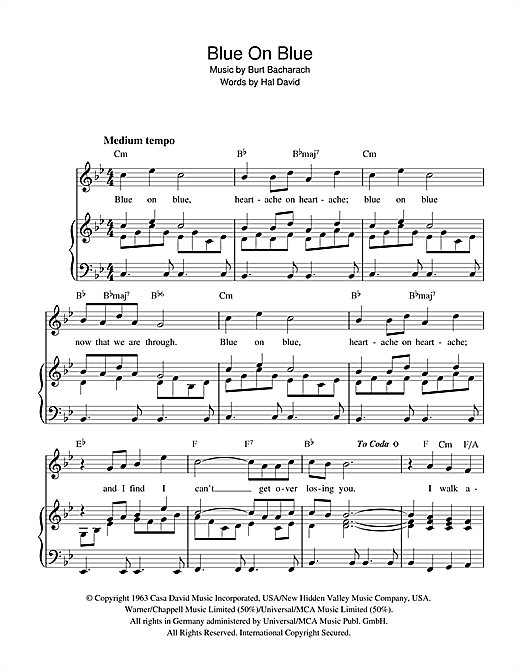 Blue On Blue (Piano, Vocal & Guitar (Right-Hand Melody))