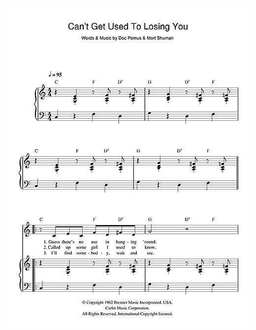 Can't Get Used To Losing You Sheet Music