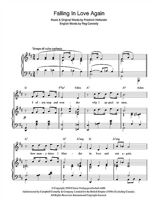 Falling In Love Again (Can't Help It) Sheet Music