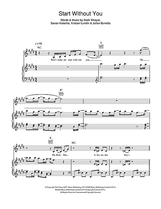 Start Without You Sheet Music