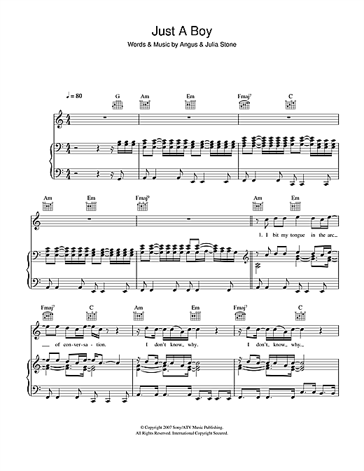 Just A Boy Sheet Music