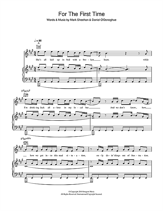For The First Time Sheet Music