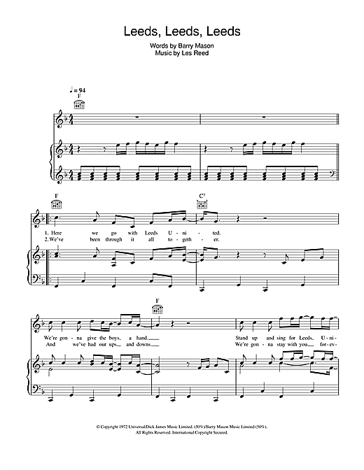 Leeds, Leeds, Leeds (Marching On Together) (Piano, Vocal & Guitar (Right-Hand Melody))