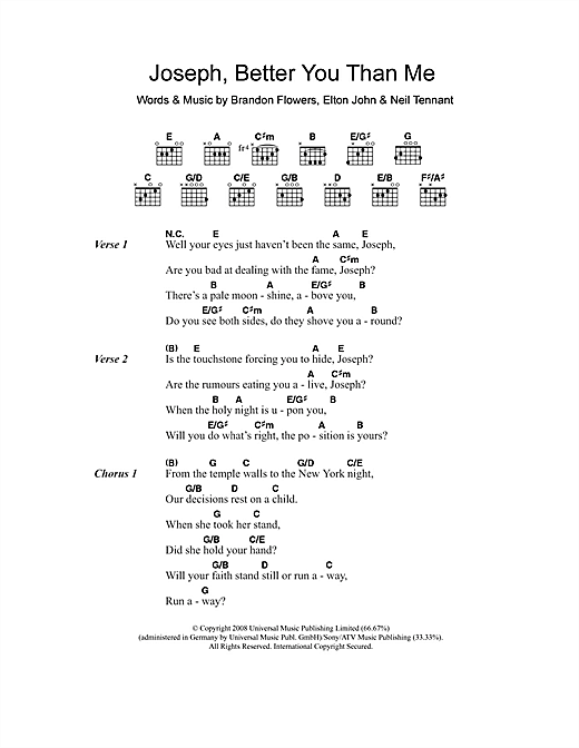 Joseph, Better You Than Me Sheet Music