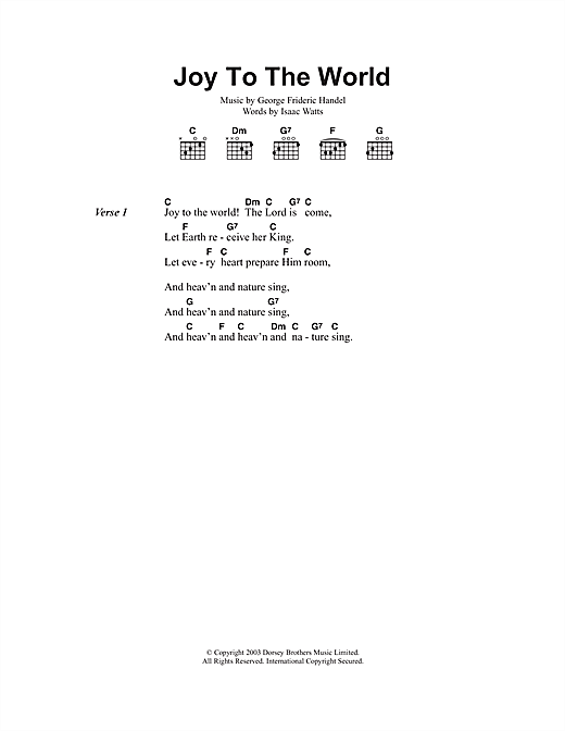Joy To The World sheet music by Christmas Carol (Lyrics & Chords ...