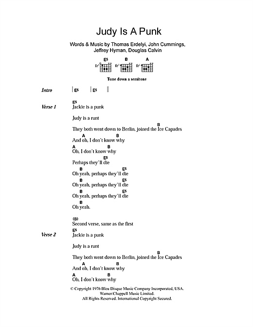 Judy Is A Punk (Guitar Chords/Lyrics)