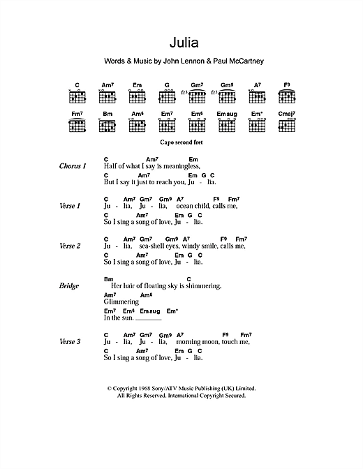 Julia (Guitar Chords/Lyrics)