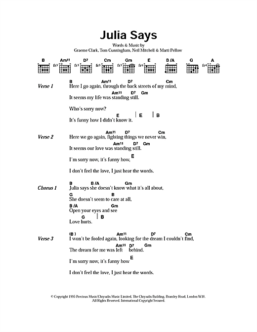 Julia Says (Guitar Chords/Lyrics)