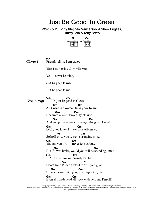 Just Be Good To Green (feat. Lily Allen) Sheet Music