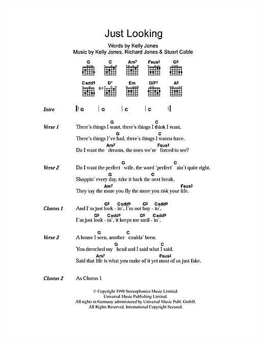 Just Looking (Guitar Chords/Lyrics)