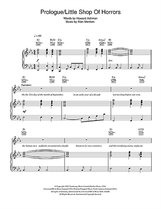 Prologue (from Little Shop Of Horrors) Sheet Music