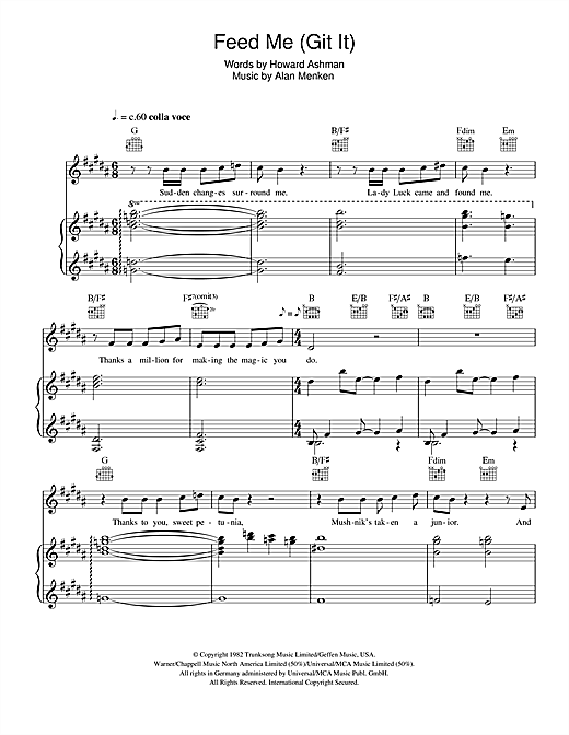 Feed Me Sheet Music
