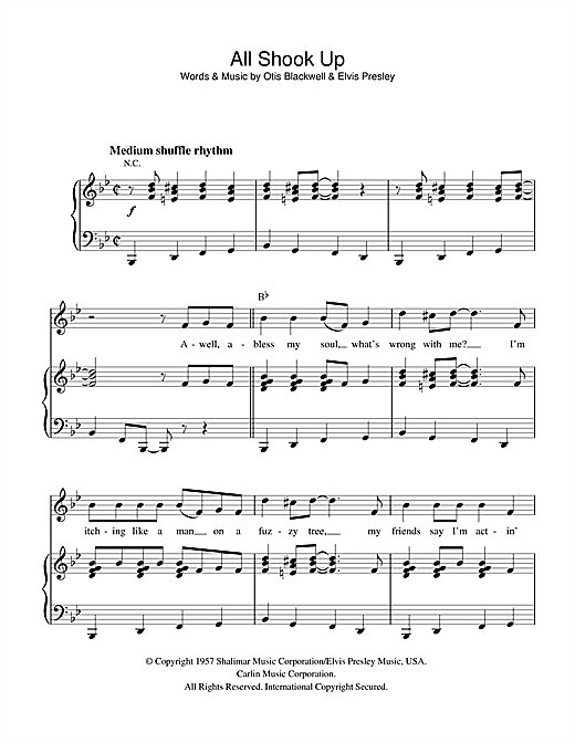 All Shook Up sheet music for guitar (chords)
