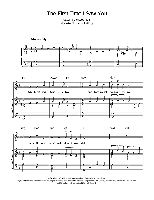 The First Time I Saw You Sheet Music