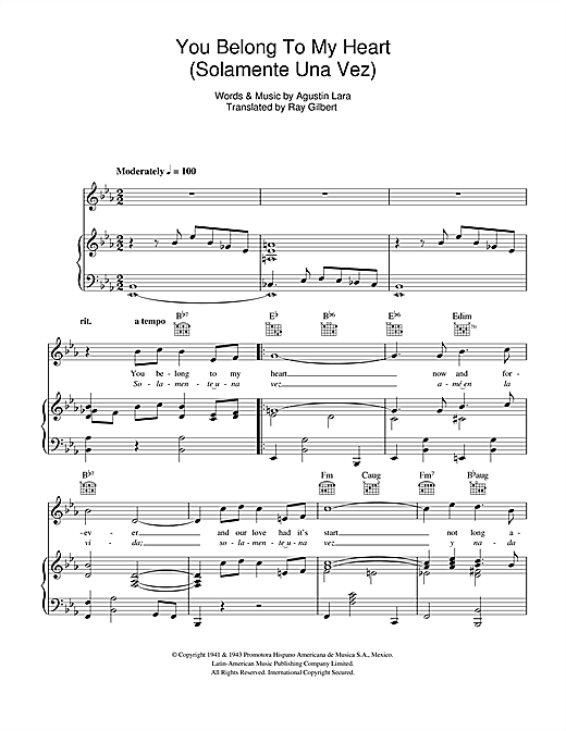 You Belong To My Heart (Solamente Una Vez) (Piano, Vocal & Guitar (Right-Hand Melody))