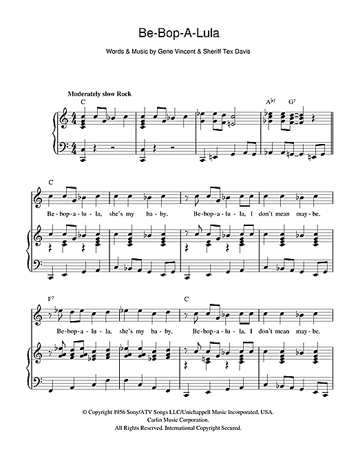 Be-Bop-A-Lula (Piano, Vocal & Guitar (Right-Hand Melody))