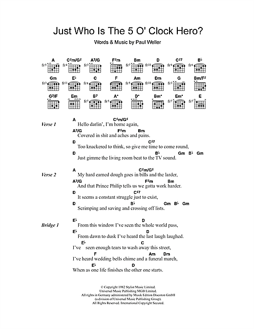Just Who Is The 5 O'Clock Hero? (Guitar Chords/Lyrics)