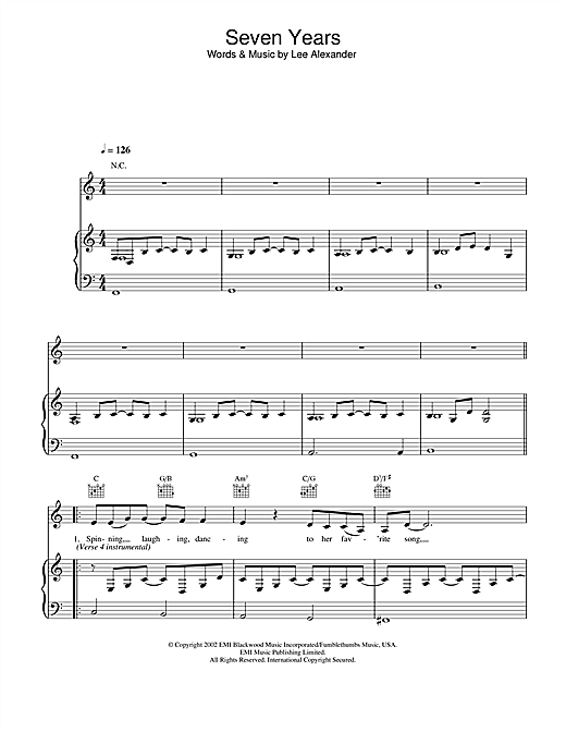 how to play 7 years on piano sheet music