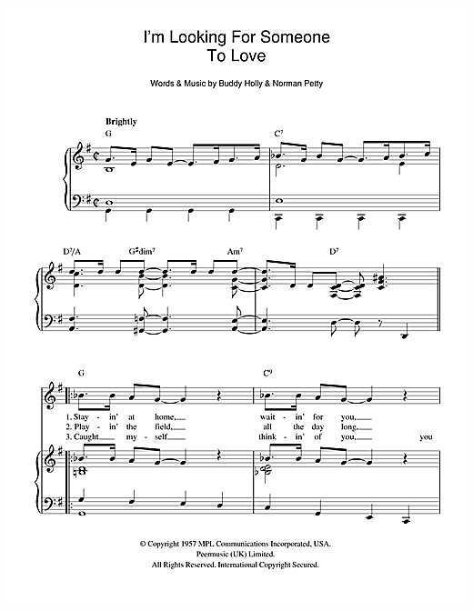 I'm Looking For Someone To Love Sheet Music
