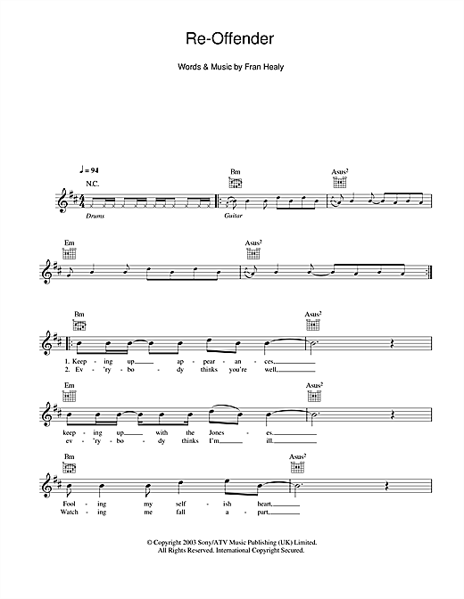 Re-offender (Lead Sheet / Fake Book)