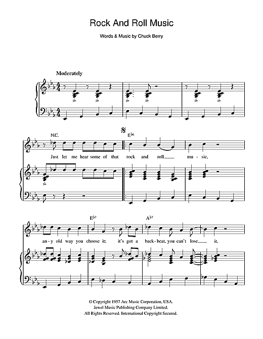 Rock And Roll Music Sheet Music
