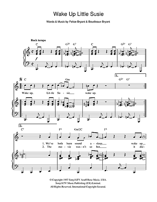 Wake Up Little Susie (Piano, Vocal & Guitar (Right-Hand Melody))