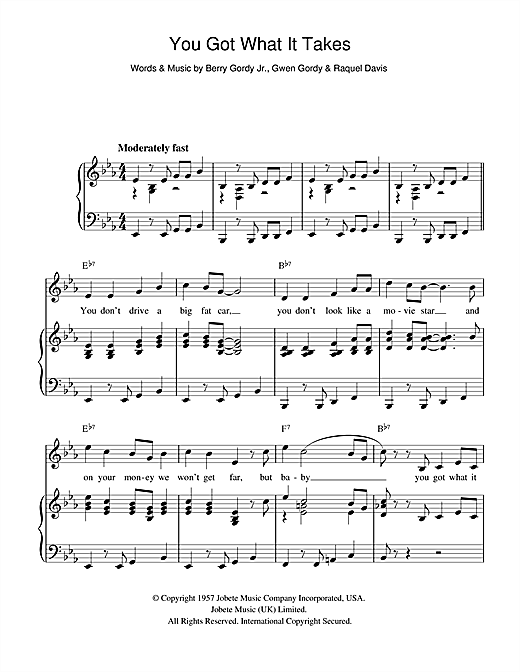 You Got What It Takes (Piano, Vocal & Guitar (Right-Hand Melody))