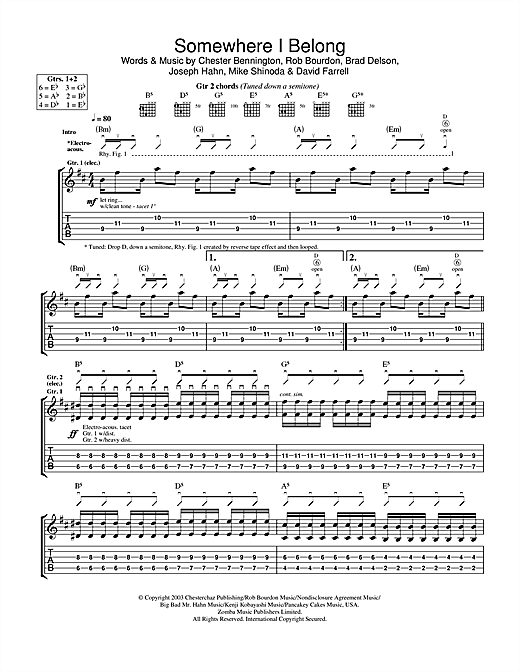 Tablature guitare Somewhere I Belong de Linkin Park - Tablature Guitare