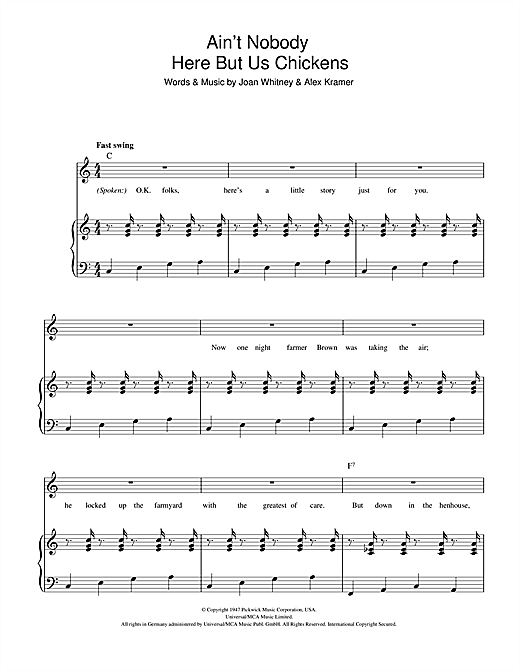 Ain't Nobody Here But Us Chickens Sheet Music