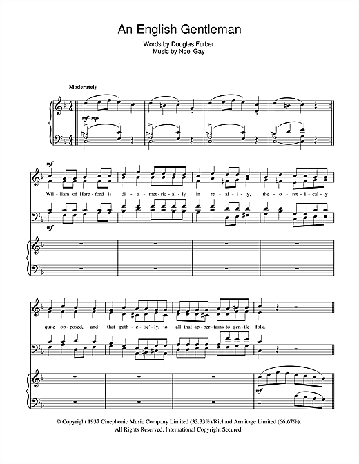 An English Gentleman (from Me And My Girl) Sheet Music