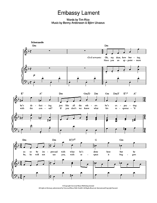 Embassy Lament (from Chess) Sheet Music
