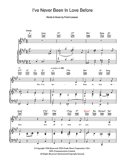 I've Never Been In Love Before (from Guys And Dolls) Sheet Music