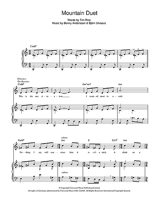 Mountain Duet (from Chess) Sheet Music